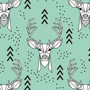 Deer geometric // Turquoise and Black