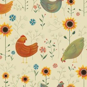 Chickens in the Garden - beige