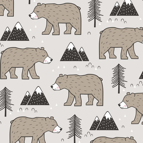 Mountain Bear  Woodland  fabric by caja_design on Spoonflower - custom fabric