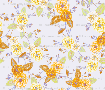 Roses Chinoserie Yellow Lilac Mist