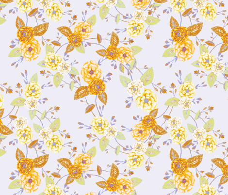 Roses Chinoserie Yellow Lilac Mist fabric by thistleandfox on Spoonflower - custom fabric