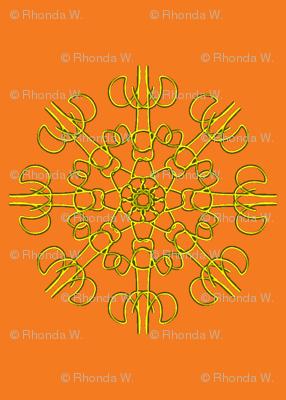 Mariner's Wheel of Gold on Pumpkin