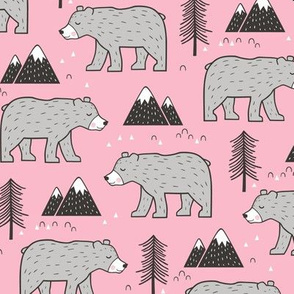 Mountain Bear  Woodland on Pink