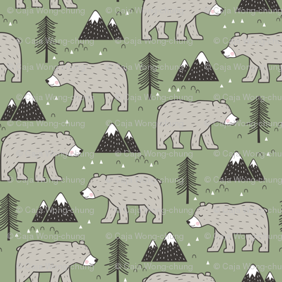 Mountain Bear  Woodland Forest Green