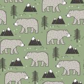 Mountain Bear  Woodland Forest Green