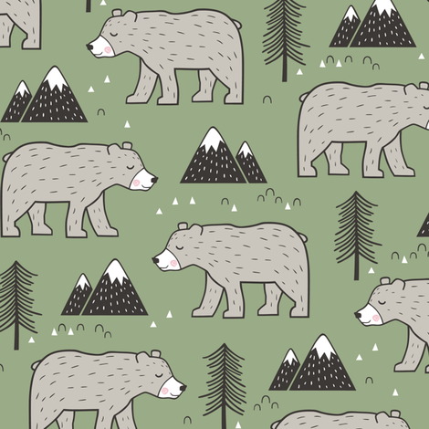 Mountain Bear  Woodland Forest Green fabric by caja_design on Spoonflower - custom fabric