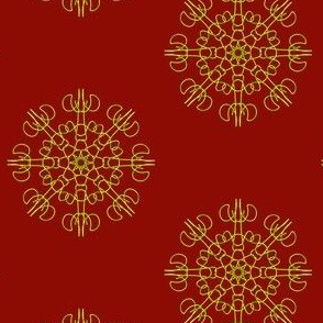 Mariner's Wheel on Regal Red - Small Scale