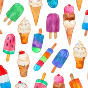 Watercolor Summer Ice Creams on White