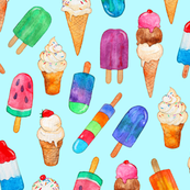 Watercolor Summer Ice Creams on Light Blue