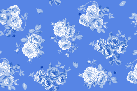 Springwater Roses in Delft fabric by lilyoake on Spoonflower - custom fabric