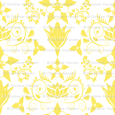 Floral Damask Yellow RGB-f9ea62