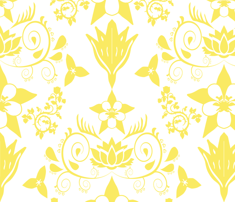 Floral Damask Yellow RGB-f9ea62 fabric by coveredbydesign on Spoonflower - custom fabric