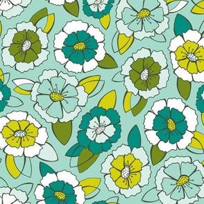 Bloom Floral - Aqua