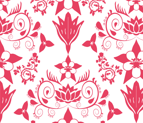 Floral Damask Magenta RGB-E64161 fabric by coveredbydesign on Spoonflower - custom fabric