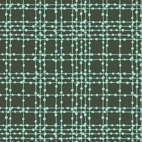 Skipping Stones - Geometric Dot Plaid Black & Aqua