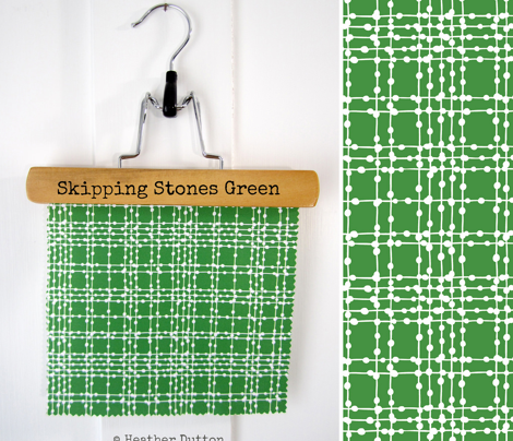 Skipping Stones - Geometric Dot Plaid Green