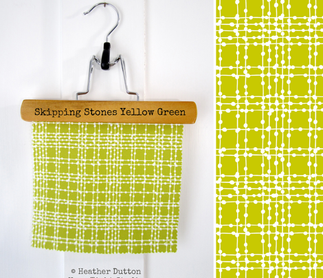 Skipping Stones - Geometric Dot Plaid Yellow Green