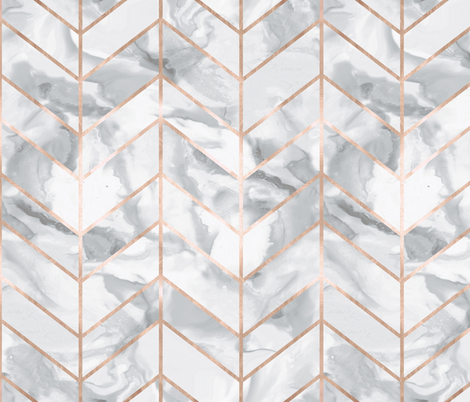 Carrera Marble Herringbone / Rose Gold Gilt fabric by willowlanetextiles on Spoonflower - custom fabric