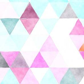 Orchid Watercolor Triangles Oversized