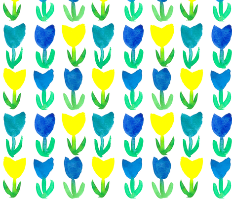 Tulips in Royal Blue and  Yellow fabric by countrygarden on Spoonflower - custom fabric