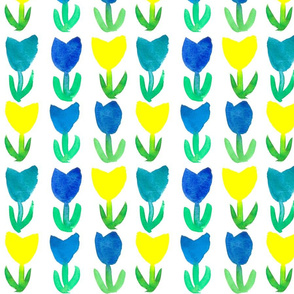 Tulips in Royal Blue and  Yellow