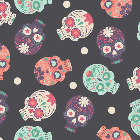 Party Party Party Pastel Skulls fabric by pink_ink on Spoonflower - custom fabric