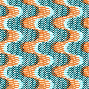 Ocean-African -orange and teal