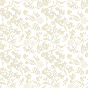tropical blooms - sand/white
