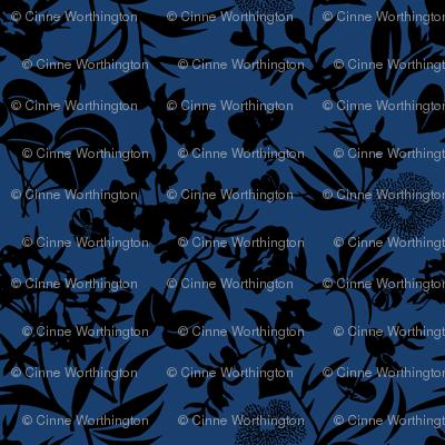tropical blooms - black/ocean