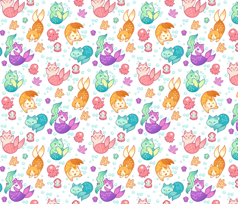 Cat Mermaids fabric by aimee on Spoonflower - custom fabric