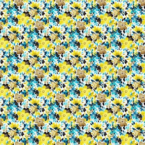 Cheerful Yellow and Turquoise Floral Collage - tiny