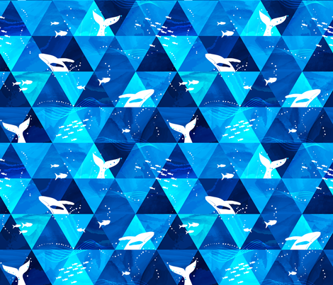 Blue Whales Singing fabric by mia_valdez on Spoonflower - custom fabric