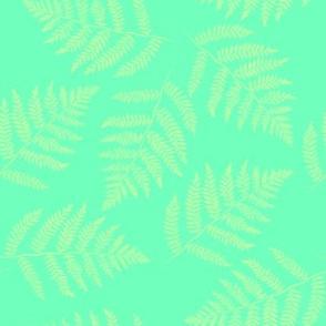 Hawaiian fern - yellow on aqua