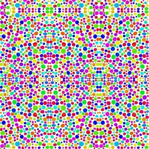Rainbow Dots Mosaic on Snowy White - Small Dots