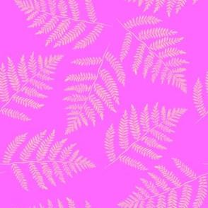 Hawaiian fern - yellow on pink