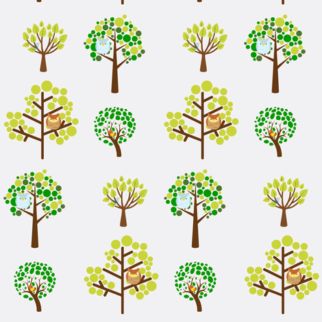 birds in trees fabric by cariannehamilton on Spoonflower - custom fabric