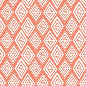 Diamond In The Rough - Geometric Pink Coral