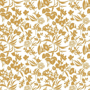 tropical blooms - gold/white