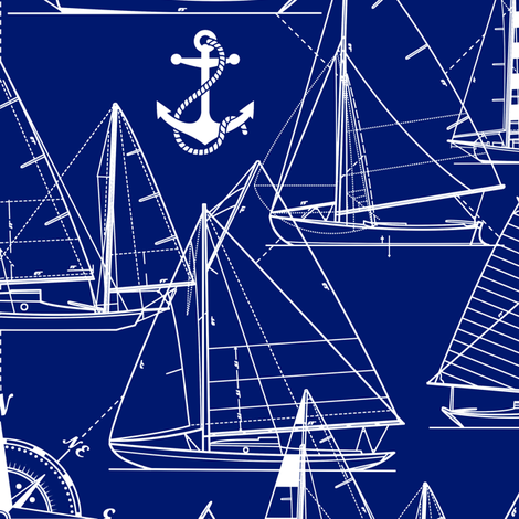sailboats - white on navy fabric by mirabelleprint on Spoonflower - custom fabric