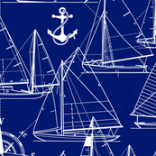 sailboats - white on navy