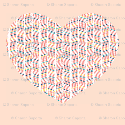 Large Heart Cut-out from Multi Colored Chevron Pattern on Blush Background