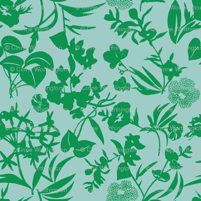 tropical blooms - grass/aqua