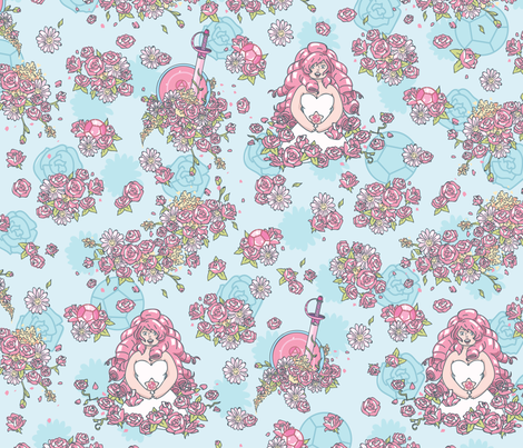 Rose Quartz Floral fabric by electrogiraffe on Spoonflower - custom fabric