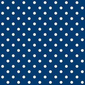 Indigo + Polka White Dots