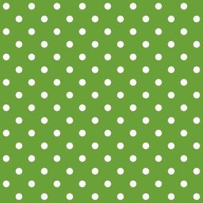 Green + Polka White Dots
