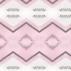 Chevron and Stripes Pink and Grey
