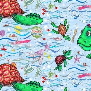 sea turtles and their diet, large scale, blue green colorful