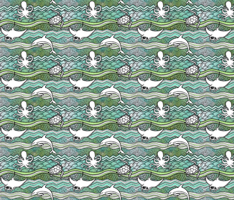 Ocean Dream (small print) fabric by pinkowlet on Spoonflower - custom fabric