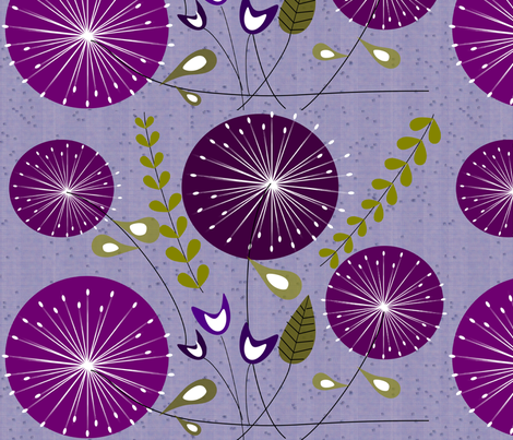 Purple Dandelion Clocks fabric by gigirn46@aim_com on Spoonflower - custom fabric