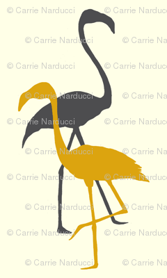 Flamingo silhouette in grey/yellow